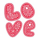 Word Love Is Made Of Red Pattern Of Openwork Lace Isolated On White Background