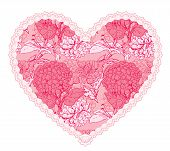 Pink Fine Lace Heart With Floral Pattern. Design Element For Wedding Or Valentines Day Card
