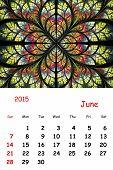 2015. June. Calendar With Beautiful Fractal Pattern.