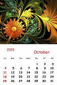 2015. October. Calendar With Beautiful Fractal Pattern.