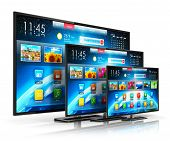 pic of tv sets  - Set of different size smart TV display screens with color web interface isolated on white background with reflection effect - JPG