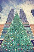 Vintage Styled Christmas Tree In Kuala Lumpur, Malaysia.