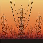 Electric power lines and sunrise, vector illustration