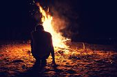 Boy Near A Bonfire