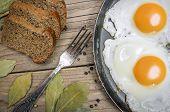Fried egg on a cast iron pan