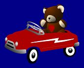 Teddy Bear in Pedal Car