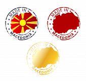 stock photo of macedonia  - made in Macedonia stamp set on white background - JPG