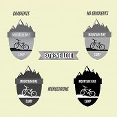 Set Of Mountain Bike Camping Logo Badge And Banner. Bicycle For Extreme Lifestyle. Grayscale Design.