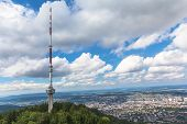 Televesion Tower On Top Of Uetliberg And The Aerial View Of  Zurich City