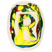 Colorful Handmade Of White Clay Letter R
