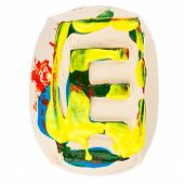 Colorful Handmade Of White Clay Letter E