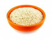 Healthy Psyllium Husks In Bowl On White
