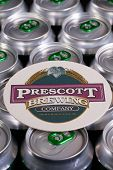 Beermat From Prescott Beer On The Cans.