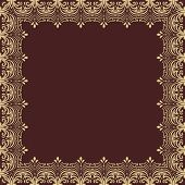 Floral Vector Frame. Abstract Golden Ornament