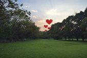 Heart Shape Air Balloon Float On Evening Sky