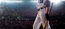picture of adults only  - Professional baseball player in action on grand arena - JPG