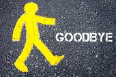 foto of goodbye  - Yellow pedestrian figure on the road walking towards GOODBYE - JPG