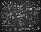 picture of earth mars jupiter saturn uranus  - Universe infographics element collection with hand drawn doodles sketch - JPG