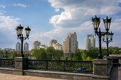 foto of ekaterinburg  - view on the Yekaterinburg town throw the street lights - JPG