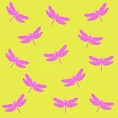 stock photo of dragonflies  - openwork pattern of a dragonfly on a yellow background - JPG