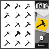 foto of monochromatic  - Flat monochromatic icons of different types of hammers and mallets with transparent background - JPG