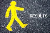 picture of pedestrians  - Yellow pedestrian figure on the road walking towards RESULTS - JPG