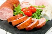 stock photo of charcuterie  - the charcuterie plate with bread and tomatoes - JPG