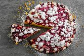 image of cherry pie  - Delicious Homemade Cherry Pie on rustic gray background - JPG