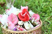 stock photo of valentine candy  - Candy valentines hearts and artificial flowers with nature - JPG