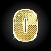 stock photo of zero  - Vector metal gold letter of number 0  - JPG