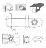Постер, плакат: Camera paper Paper Cuttings camera for your design or hobby Papercraft in vector Die cut Layout