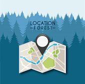 stock photo of gps  - gps location design in dark forest - JPG