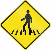 pic of pedestrian crossing  - Chilean road warning sign  - JPG