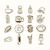 foto of teapot  - Food cafe set Morning breakfast lunch or dinner kitchen doodle hand drawn sketch rough simple icons coffee - JPG