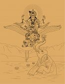 stock photo of krishna  - Indian god Krishna flying on Garuda bird on a beige background - JPG