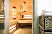 foto of sauna  - Inside of modern sauna in the residence - JPG