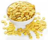 foto of cereal bowl  - Cornflakes cereal in the white bowl - JPG