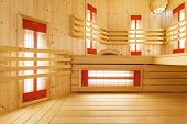 image of sauna  - Interior of spacious sauna in modren residence - JPG