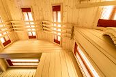 picture of sauna  - Bright interior of the sauna in the residence - JPG