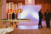 picture of serving tray  - Waiter serving champagne with strawberries on a tray - JPG