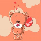 pic of bear  - teddy bear with red balloon - JPG