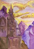 foto of fantastic  - Hand painted picture watercolours fantastic castle in mountains - JPG