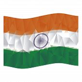 stock photo of indian flag  - Isolated indian flag on a white background - JPG