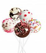 picture of cake pop  - Sweet cake pops isolated on white - JPG