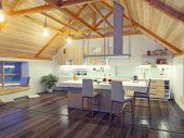stock photo of attic  - modern kitchen interior with island in the attic  - JPG