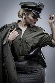 ww2, German officer in World War II, reenactment, soldier beautiful woman poster