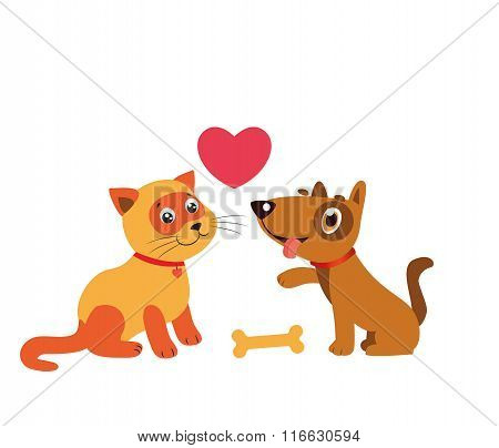 poster of Happy Cat And Dog Friendship. Cartoon Illustration Of Best Friends. Cat And Dog Cartoon.