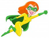 stock photo of superwoman  - Vector illustration of a beautiful super heroine - JPG