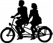 stock photo of tandem bicycle  - black silhouette of young man and woman riding at tandem bicycle - JPG