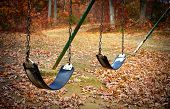 Old Swingset At A Park In The Fall